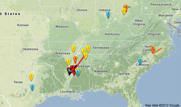 Map Of Tornado Valley http://www.ustornadoes.com/2012/02/21/the-mississippi-valley-outbreak-of-1971-and-februarys-only-f5-tornado/