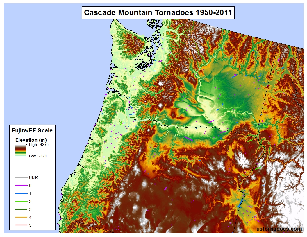 the cascade mountains map by kathryn prociv tornado data spc elevationdata usgs tornadoes don