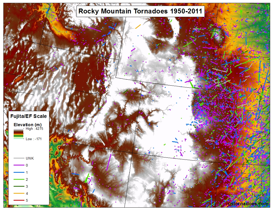 Tornadoes Dont Happen In Mountains Or Do They Debunking The - Map of us rocky mountains