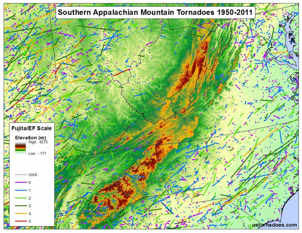 Map by Kathryn Prociv. Tornado data: SPC, elevation data: USGS
