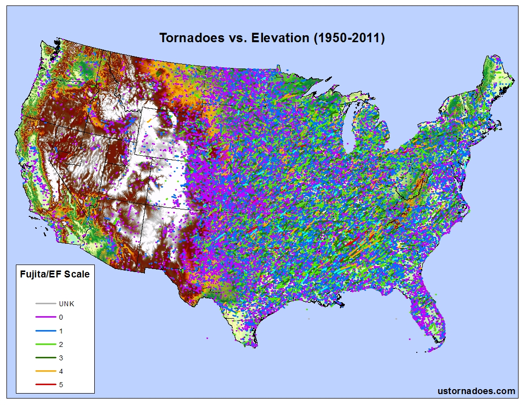 Tornadoes Dont Happen In Mountains Or Do They Debunking The - Elevation map of us