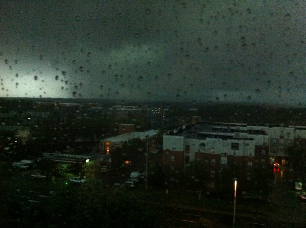 Tornado-warned supercell approaching downtown Raleigh, NC. Photo courtesy of Casey Letkewicz.