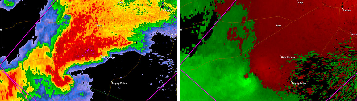 Radar capture of the classic supercell approaching downtown Raleigh, NC. Classic hook echo and couplet signatures. Radar image taken using Gibson Ridge Software.