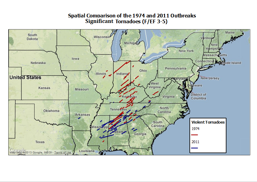 Map of only F/EF3-F/EF5 tornadoes for both events.