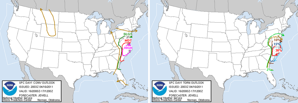 Storm Prediction Graphics from April 16th, 2011. Left: 4pm convective outlook, Right: 4pm tornado probability forecast.