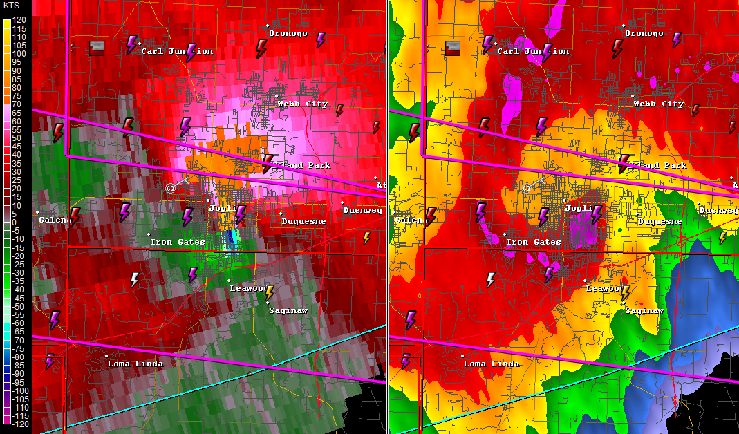 GR2 Analyst radar imagery showing the tornado as it moved over the city of Joplin at 6:43 ET. Center of circulation is evident as seen on the left hand image where the orange and blue meet.