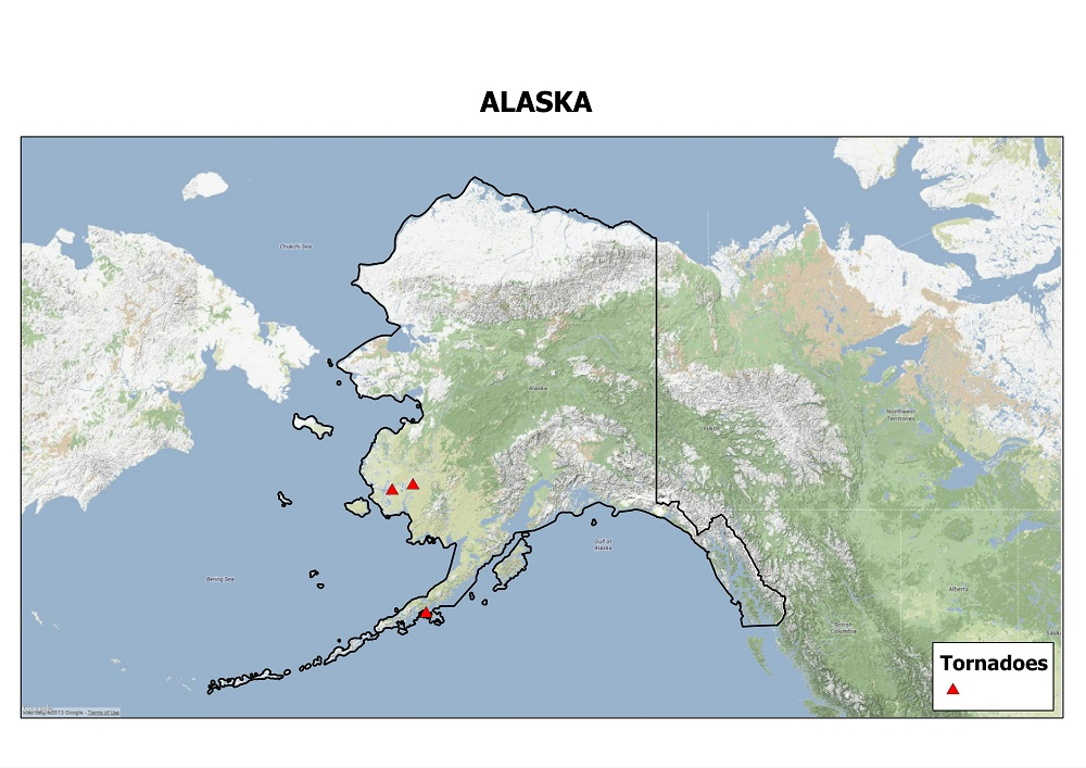 Google Physical map of Alaska showing tornado events since 1950.  Tornado data courtesy of the Storm Prediction Center. Map by Kathryn Prociv