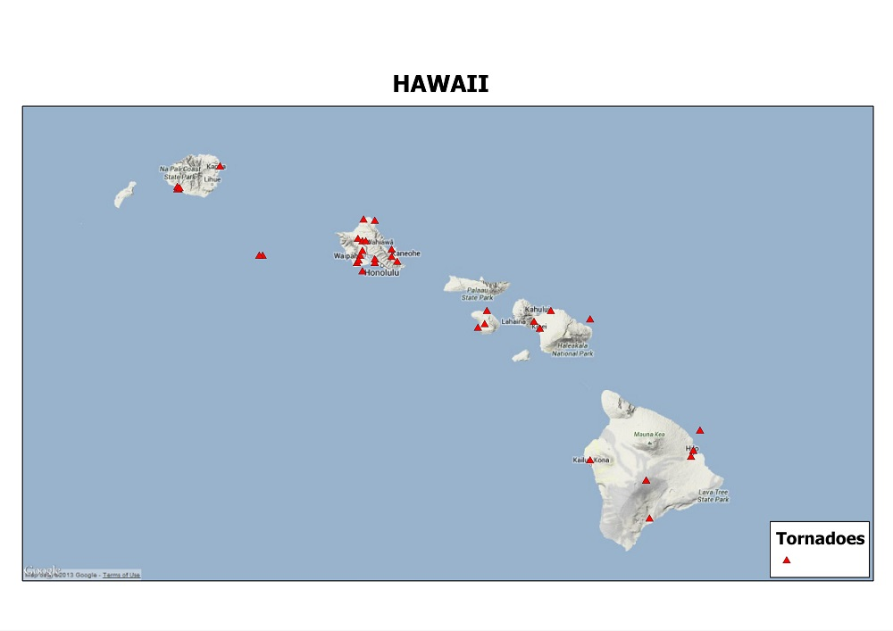 Google Physical map of Hawaii showing tornado events since 1950.  Tornado data courtesy of the Storm Prediction Center. Map by Kathryn Prociv