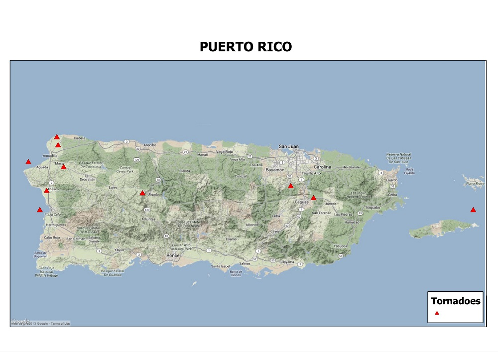 Google Physical map of Puerto Rico showing tornado events since 1950.  Tornado data courtesy of the Storm Prediction Center. Map by Kathryn Prociv