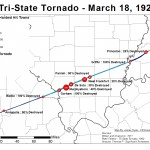 Re-Creation of the Wilson, 1971 Tri-State tornado path and resulting deaths in hardest hit towns.