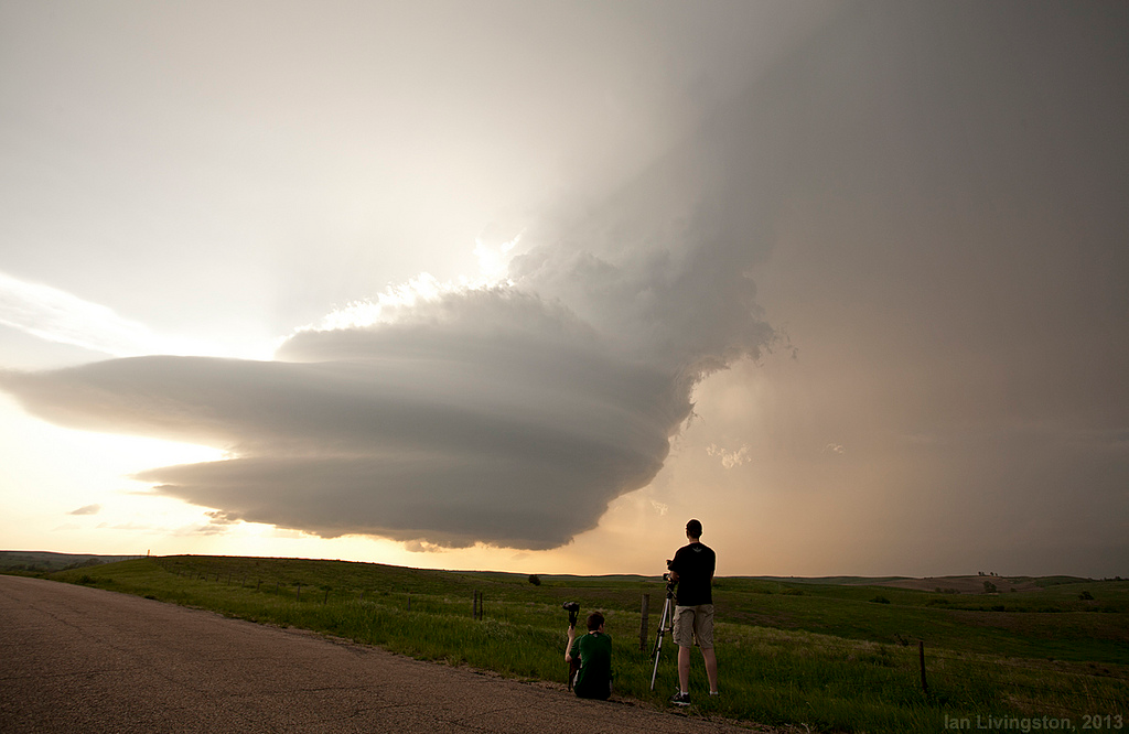 Mark and JT watch a supercell over Nebraska 5/26/13.
