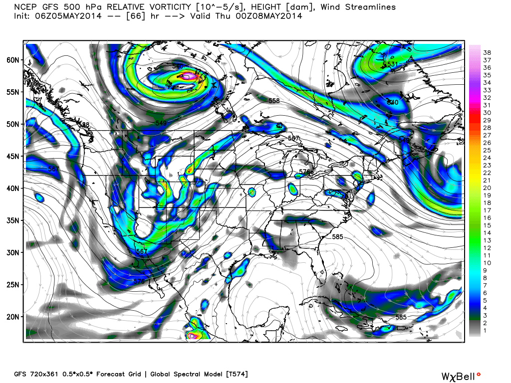 May 5 0z GFS 500mb height and vorticity shows a trough about to eject into the Plains late Wednesday. (Weatherbell.com)