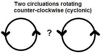 An illustration on the issue when two cyclonic circulations interact.