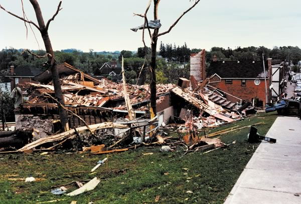 Library destroyed in Grand Valley, Ontario. Photo by Les Canivet. Source: In The Hills.