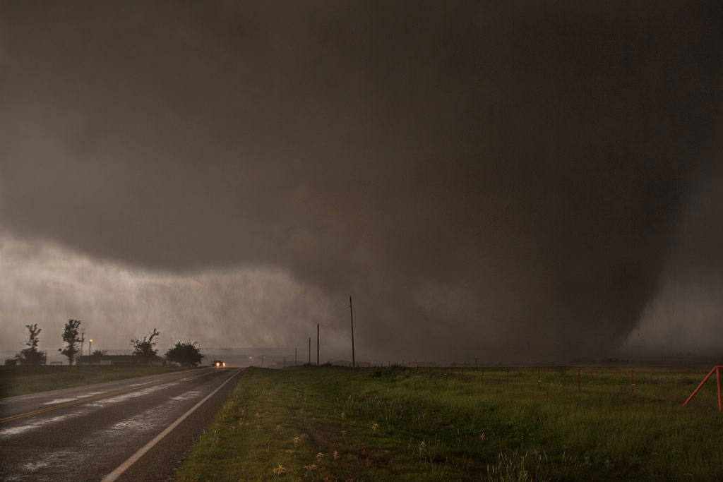 A long-track tornado near the Texas/Oklahoma border in the Red River area. This was near Elmer, Oklahoma, around where EF3 damage was verified. (Chris Streeks via Flickr)