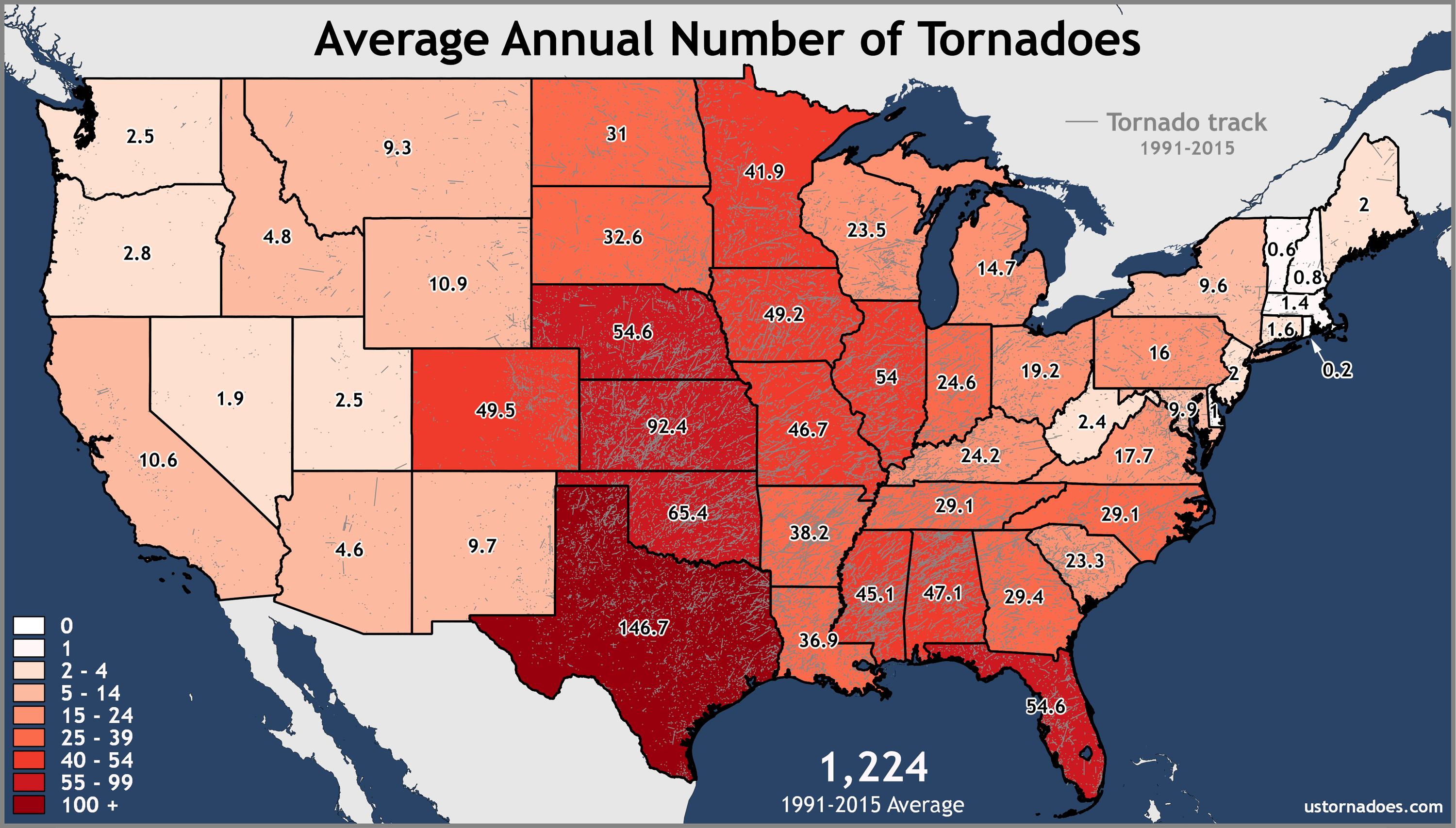Annual United States Tornadoes State Averages