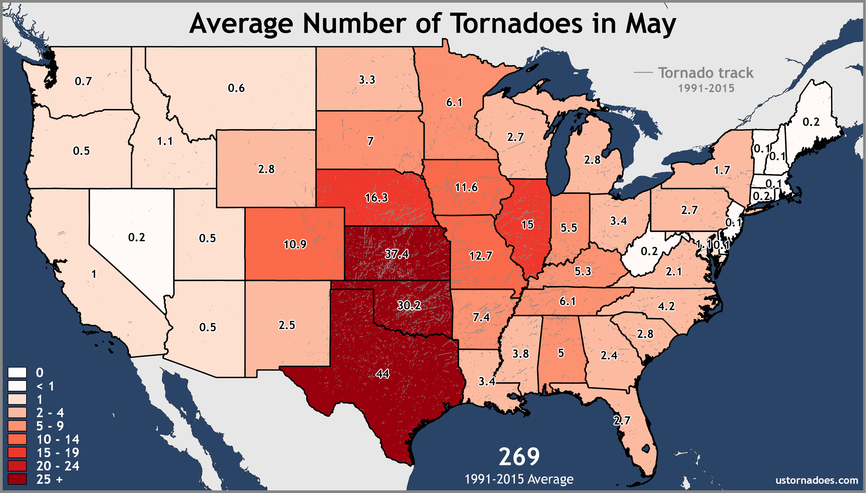 Annual and monthly tornado averages for each