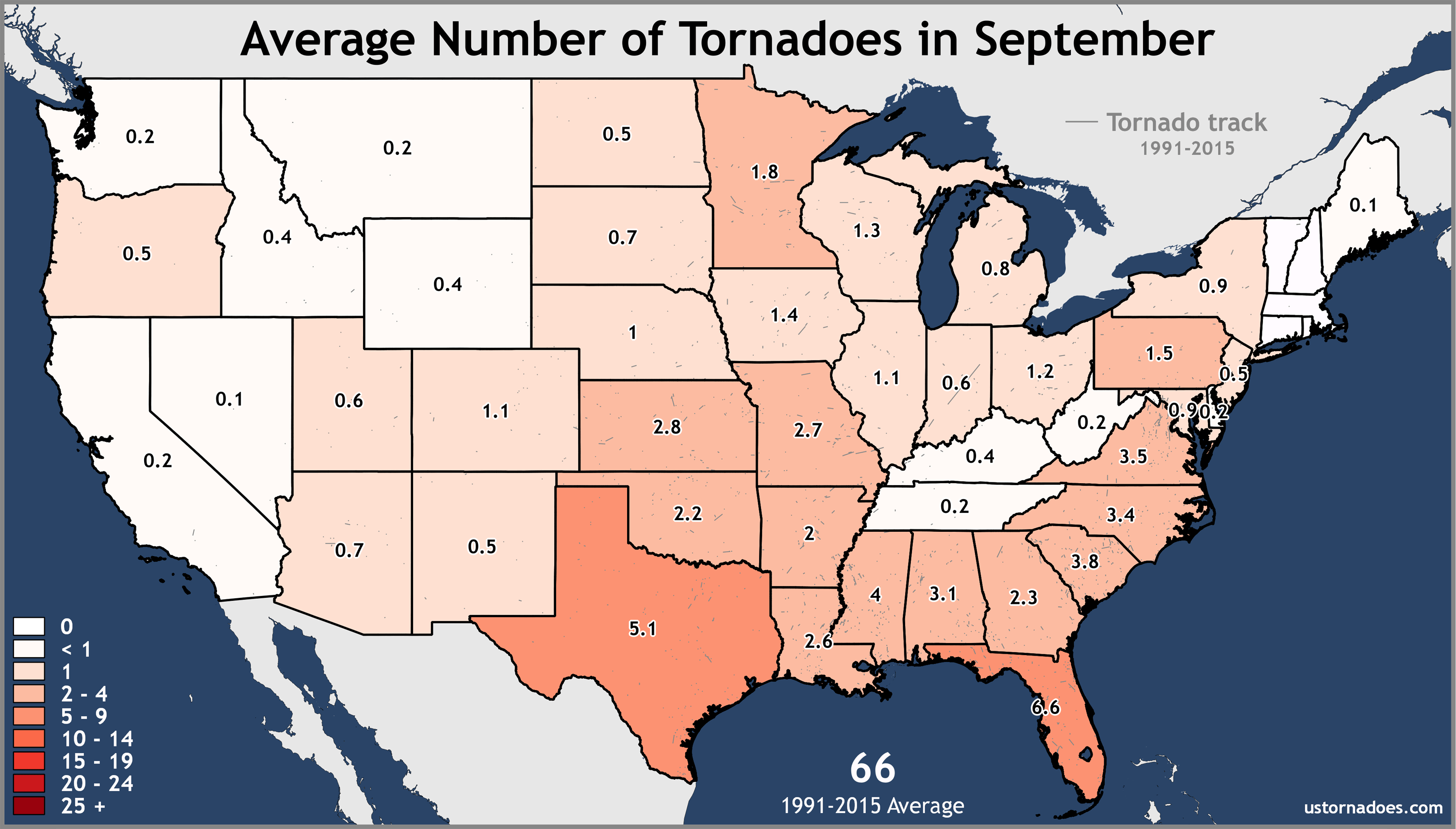 Annual and monthly tornado averages for each state maps US