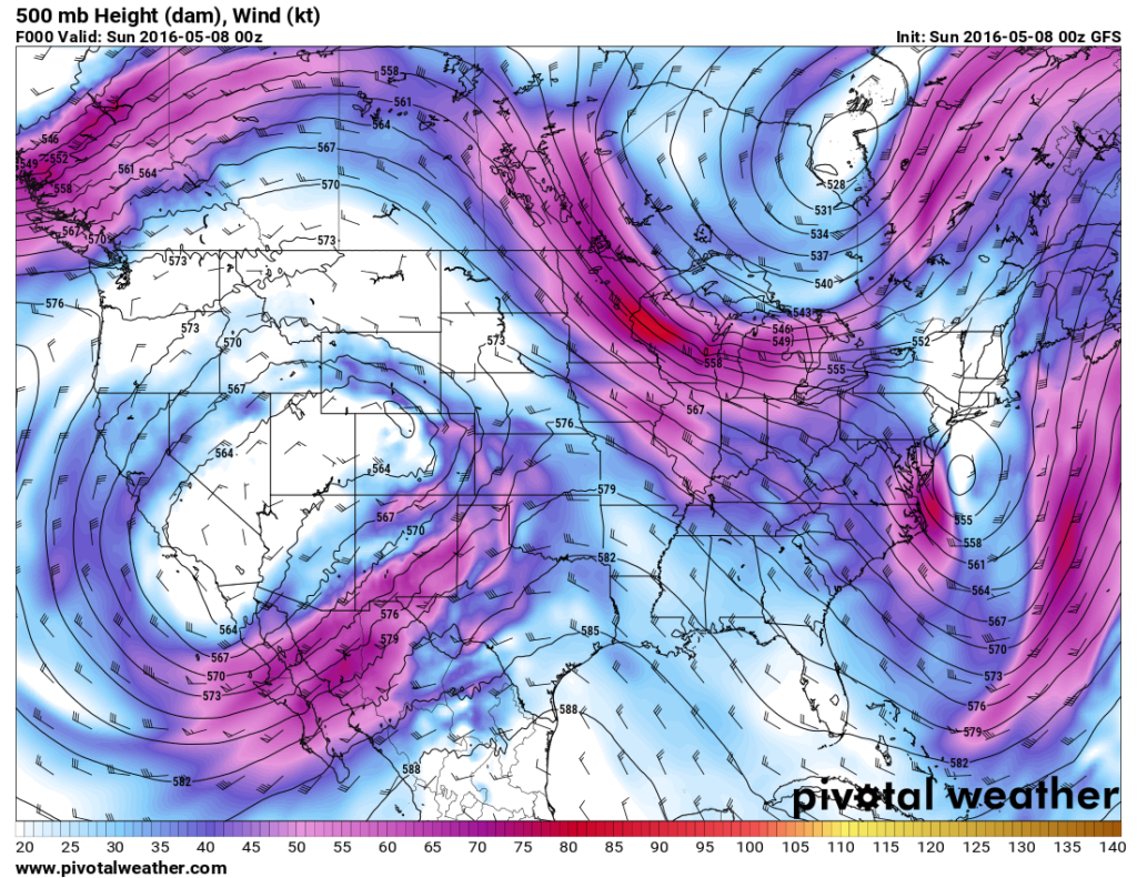500mb analysis around the time of the Wray tornado via the GFS model. (Pivotal Weather)