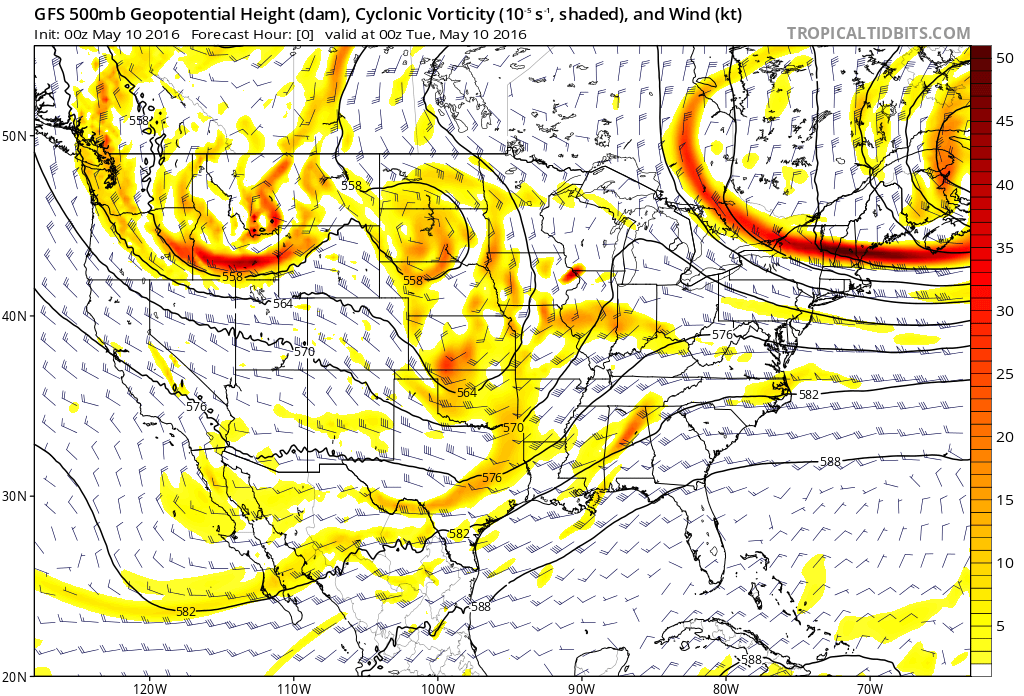 0z GFS initialization the evening of the May 9 tornado event. (Tropical Tidbits)