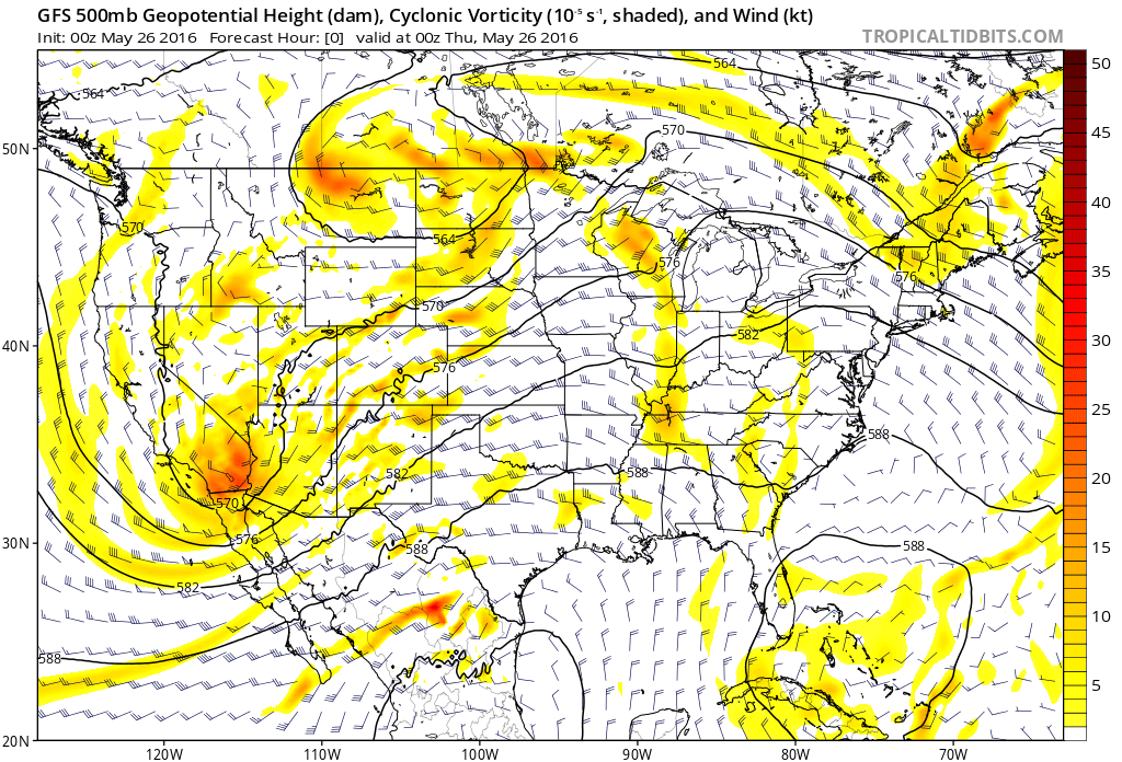 500mb pattern the evening of the violent tornado. (Tropical Tidbits)