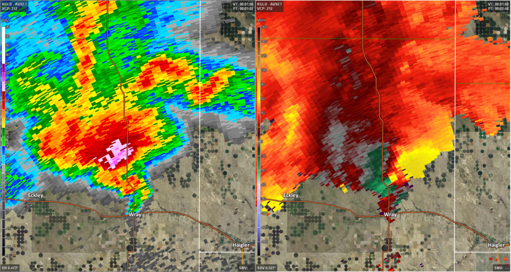 Radar at the time the tornado was just north of Wray, Colorado.