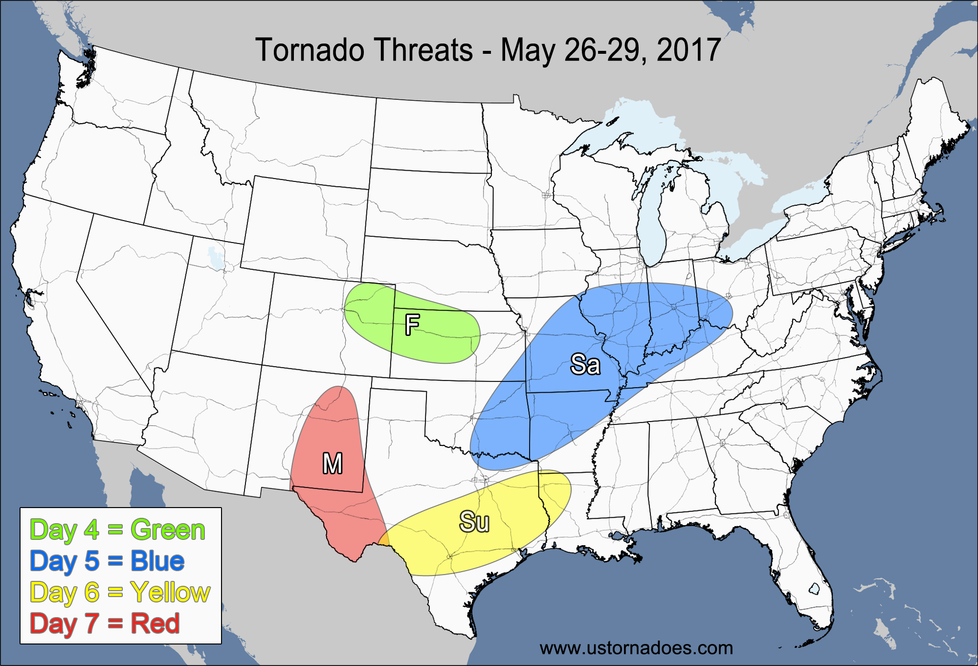 Tornado Threat Forecast May US Tornadoes - Us central plains map