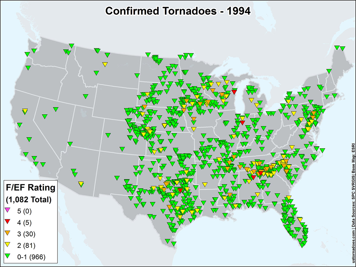 An Overview Of The Modern Tornado Record  Through Present - Map us 81