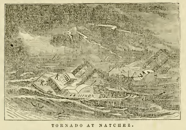 A conceptual drawing of the steamboat Hinds being capsized by the Natchez Tornado.