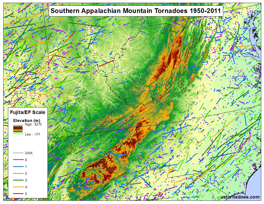 the appalachian mountains map by kathryn prociv tornado data spc elevation data usgs