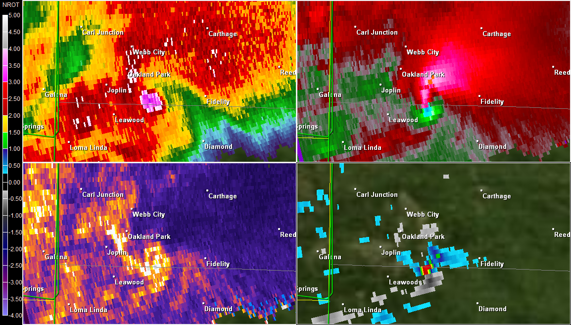 Radar image showing the tornado as it exits Joplin. A debris ball is present in the top left corner image in pink. Radar image was taken around 7pm ET.