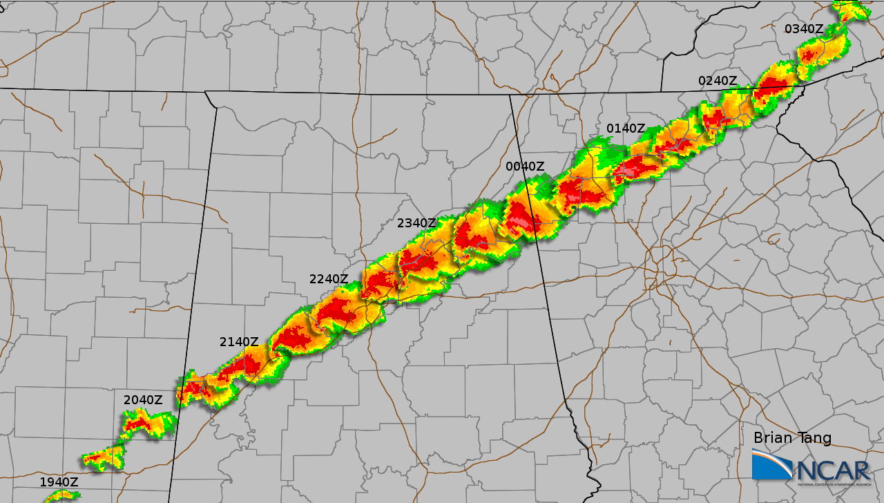 Composite radar imagery of a long-track tornadic supercell on April 27, 2011. (Brian Tang/NCAR)