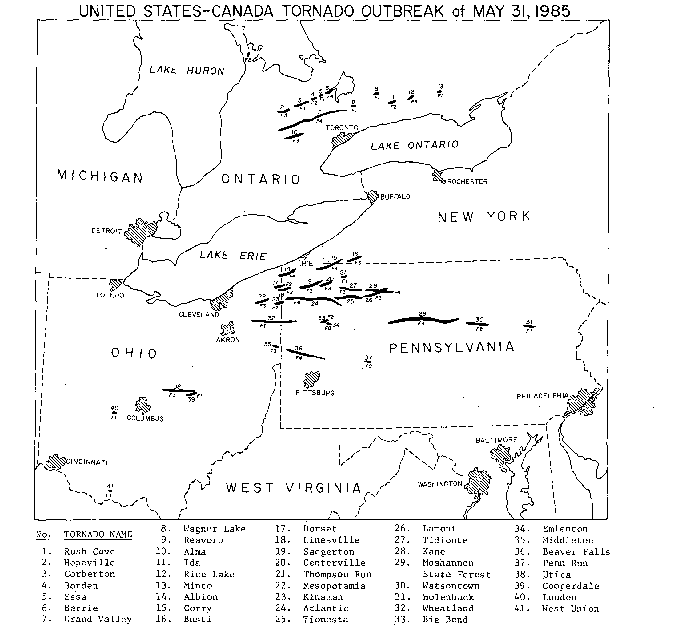 Best Places In The Us In May: May 31, 1985: A Tornado Outbreak Out Of Place