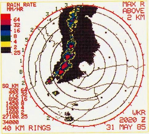Radar image from King City, Ontario at the height of event in the region. Source: Wikipedia.
