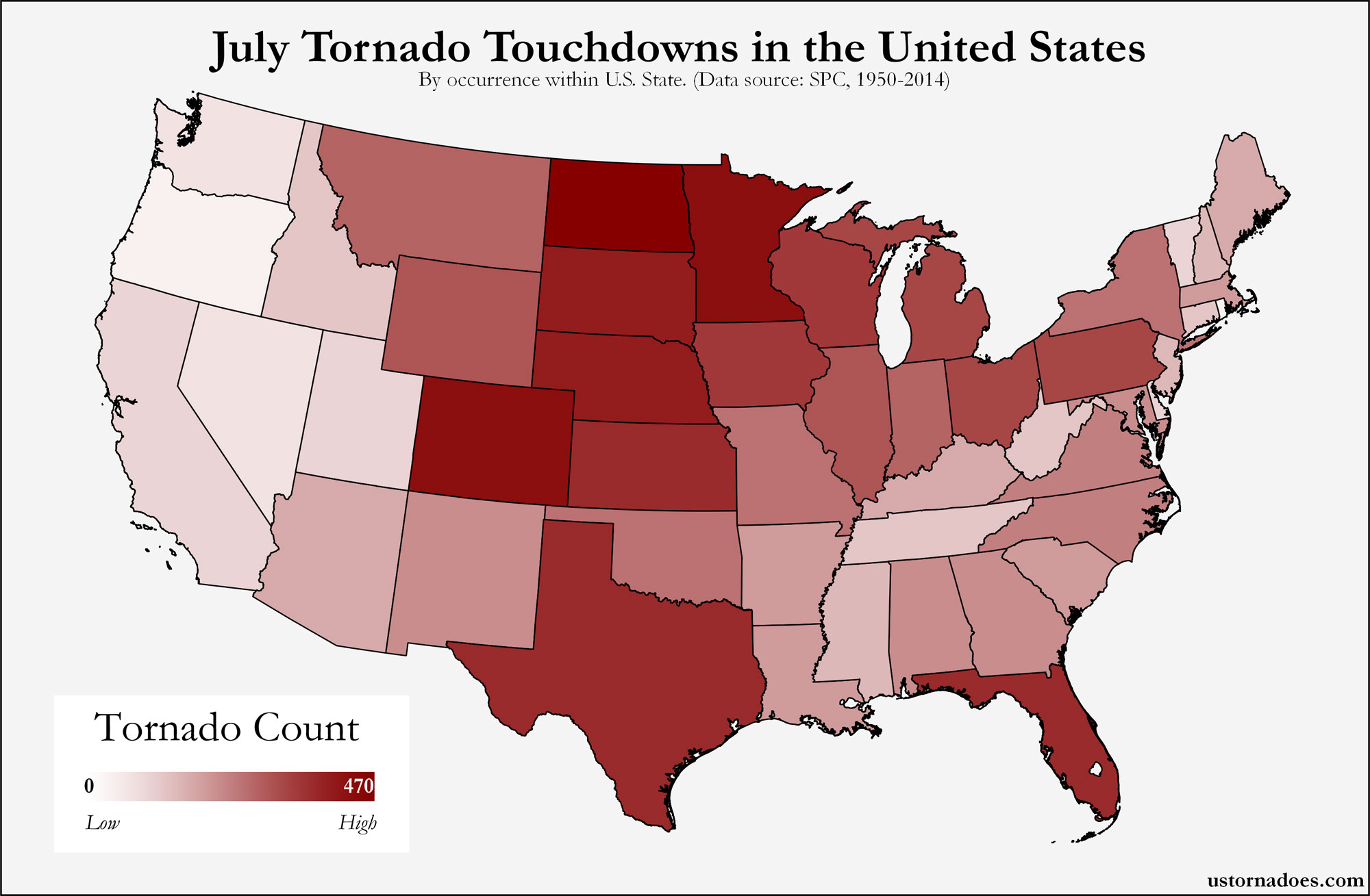 Map Of Tornadoes In The Us Here's where tornadoes typically form in July across the United