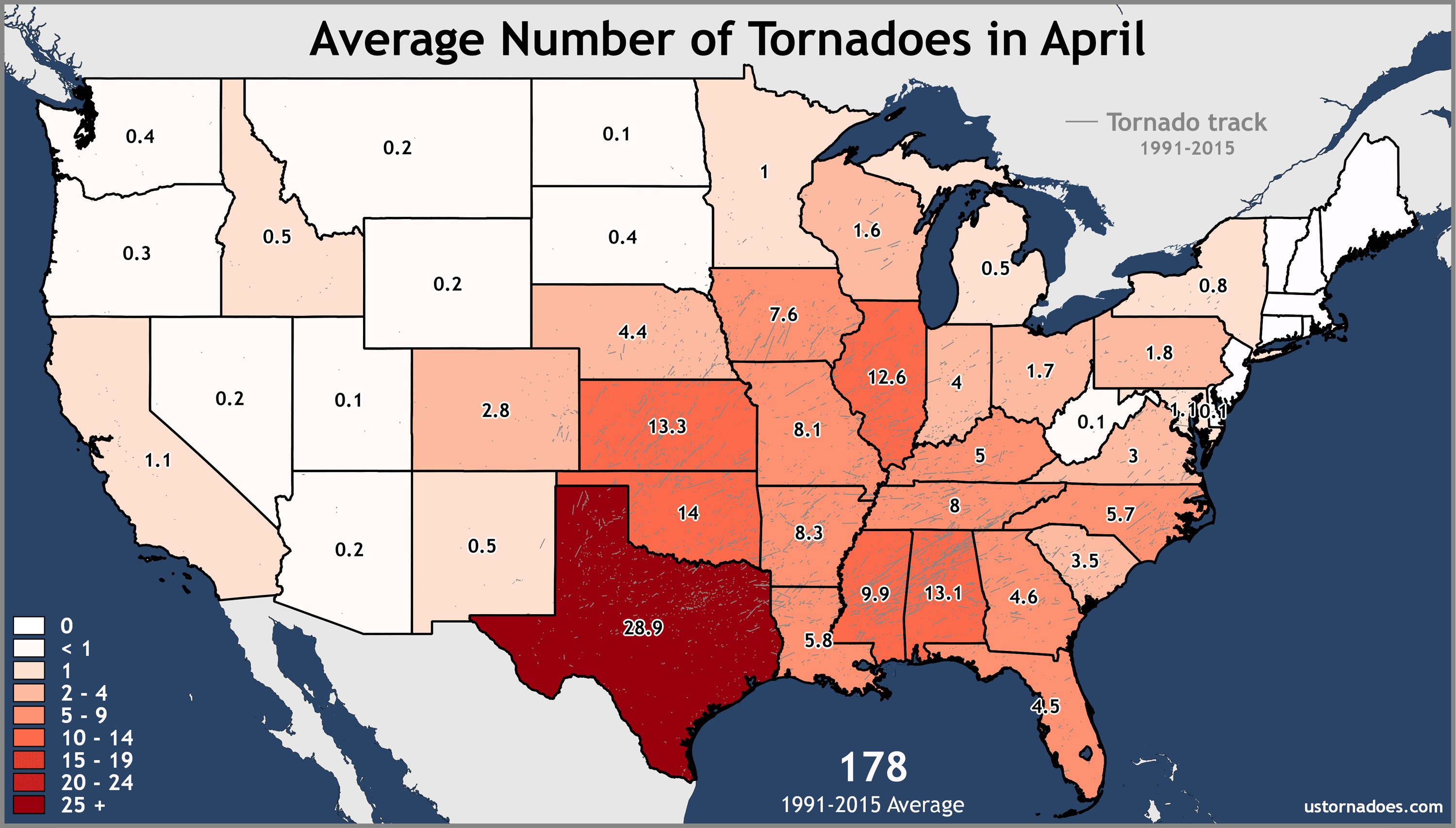 Annual and monthly tornado averages for each state (maps)   U.S.