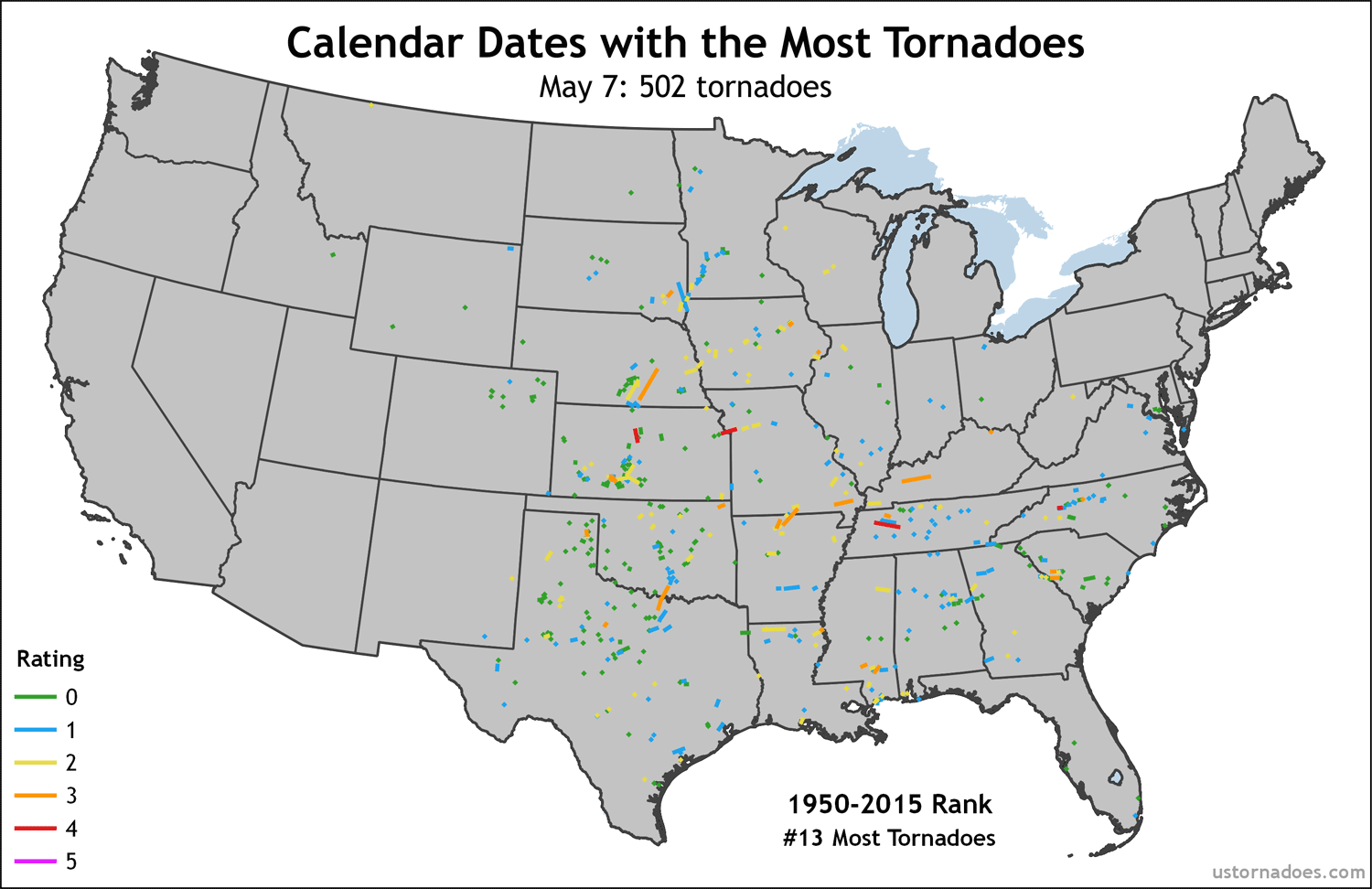 The calendar days with the most and fewest tornadoes - U.S. Tornadoes