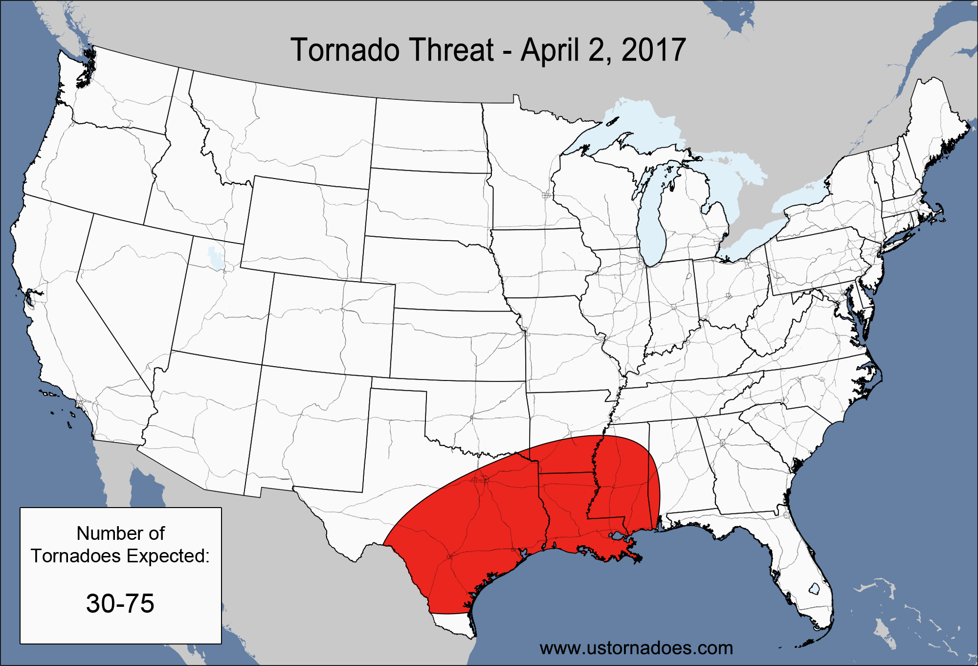 Map Of Tornadoes In Texas Yesterday.Tornado Threat Special Update April 2 2017 U S Tornadoes