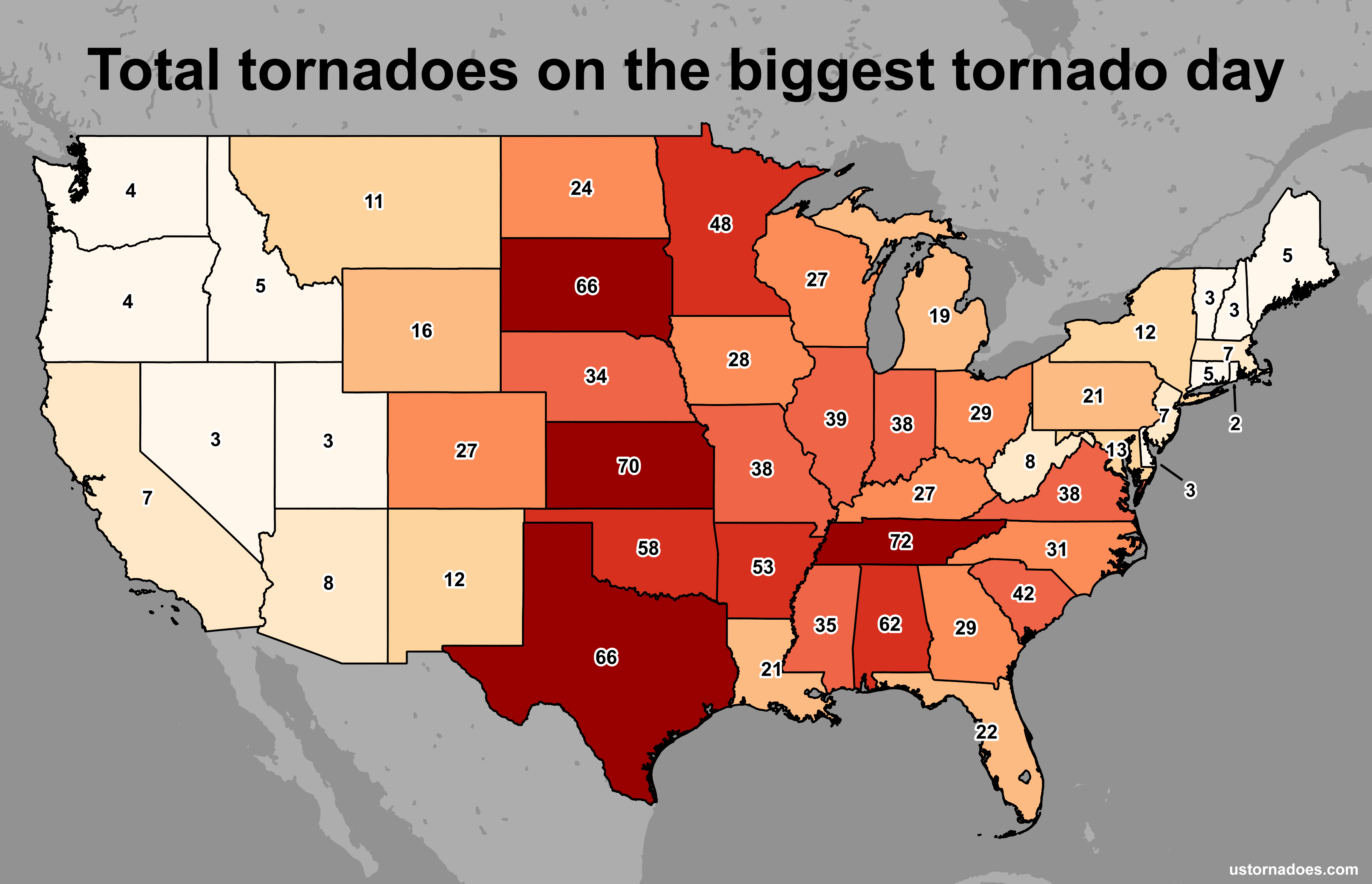 The most tornadoes in a calendar day by state - U.S. Tornadoes